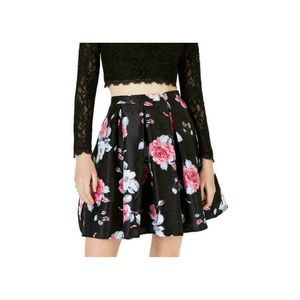 NWT Sequin Hearts 5 Black Floral Pleated Skirt New